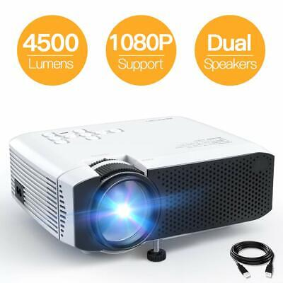 Portable 1080P Mini Projector LCD Display Wireless Built-in Dual Speaker White