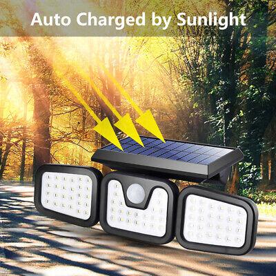 74led 3 Heads Spotlight Outdoor Solar Power Light Motion Sensor Security Light