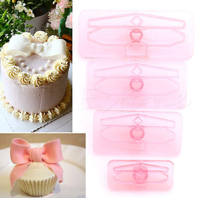 4Pcs Plastic Bowknot Bow Cookie Biscuit Cake Cutter Fondant Mold Sugarcraft Tool - Fondant Bow
