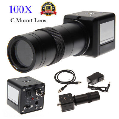 100x Digital Industrial Microscope Camera Bnc Av Tv Video Zoom C-mount Lens