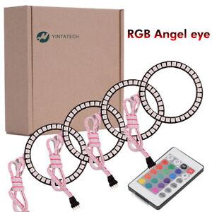 4X Flashing Angel Eyes Multi-color Halo Ring Bulbs LED Remote kit 80MM RGB 5050