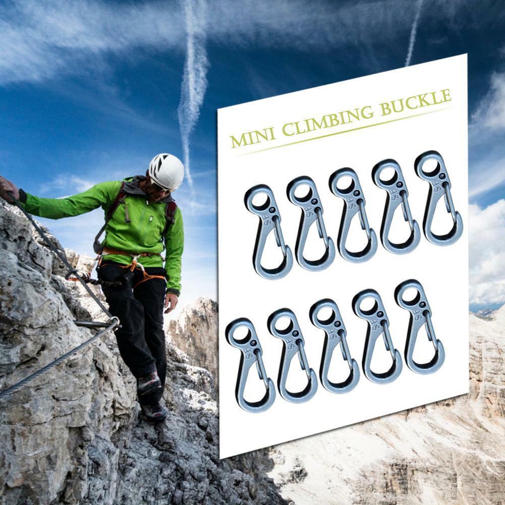 10pcs Mini Carabiner Keychain Outdoor Climbing Spring Buckle
