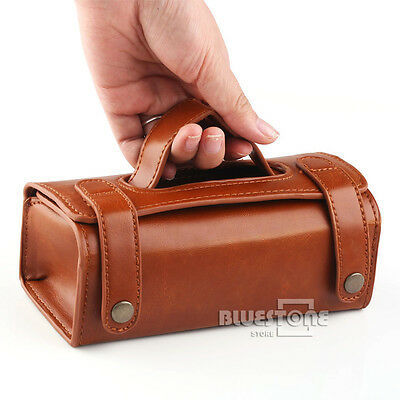 Brown PU Leather Travel Sports Case Pouch Men Shaving Brush and Razor Bag