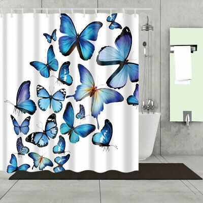 Bathroom Shower Curtain Decor Set Butterfly Design Blue Bath Curtains + 12 Hooks - Butterfly Bathroom