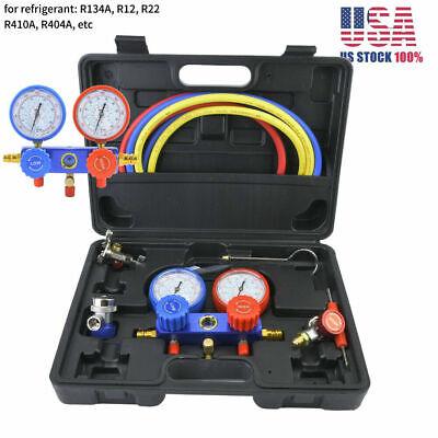 Ac Manifold Gauge Set Dual Valve R22 R410a R404a Refrigerant Diagnostic Tool