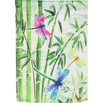 #L BAMBOO DRAGONFLIES  2 SIDED SUMMER LARGE HOUSE FLAG 29X43 2 SIDED BANNER