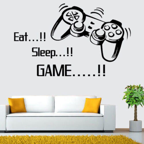 Home Decoration - Eat Sleep Game Wall Stickers Boys Bedroom Home Living Room Decoration Decor UK