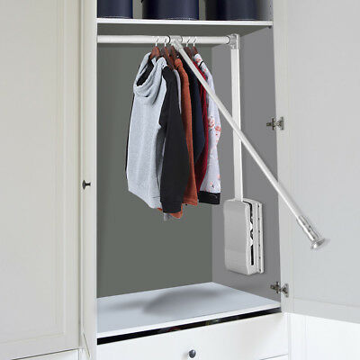 Lift/Pull Down Wardrobe Rail Clothes Hanger Adjustable Closet Organizer Silver