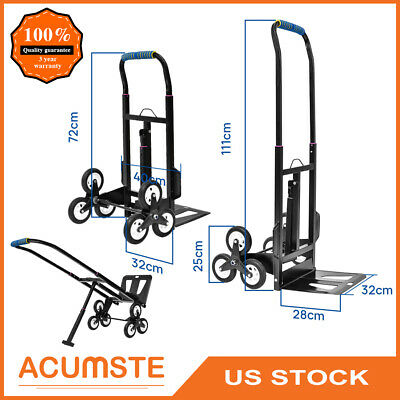Heavy Duty Foldable Climbing Hand Truck 6 Wheel Stair Climber Dolly Cart 440lbs