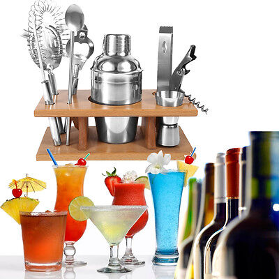 8-tlg Cocktail Shaker Cocktailset Edelstahl Barmixer Shakerset + Holzständer NEU