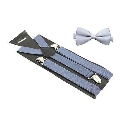 Hosenträger und Fliegen Set Y Form 25mm 3 Clips Herren Fliege Suspender Grau