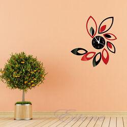 3D Clock Lotus Art Acrylic Mirror Wall Sticker TV DIY Backdrop Home Decoration