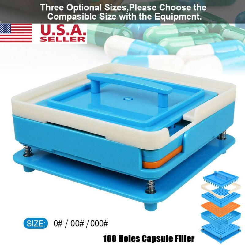 100 Holes Pill Tray Fillers Size 000 00 Manual Machine Tool With Tamper ABS