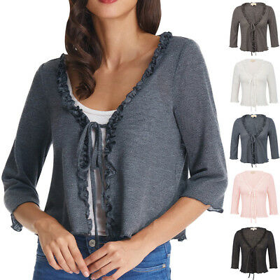 KK Women's 3/4 Sleeve Ruffled Knit Shrug Tops Front Tie Cardigan Bolero Shirt - Ruffled Knit Shrug