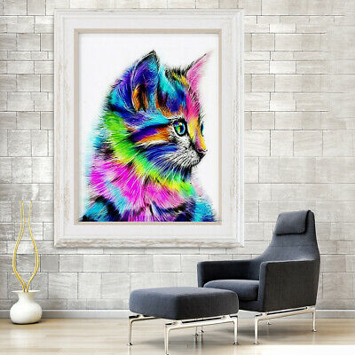 5D Diamond Painting Rainbow Cat Animal DIY Embroidery Cross Stitch Home Decor US Crafts