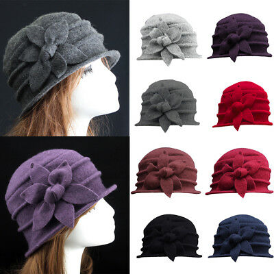 Womens Floral 1920s Vintage 100% Wool Beret Beanie Cloche Bucket Winter Hat (1920s Hats)