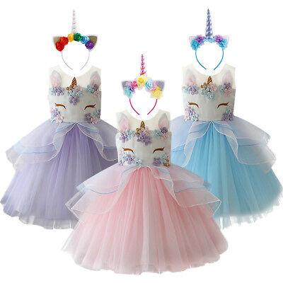 Einhorn Kostüm Kleid Kinder Mädchen Partykleid Tutu Prinzessin Festkleid Festzug