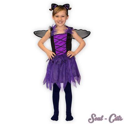 Mädchen Kostüm Set Fledermaus mit Haarreifen und Flügeln Fasching Karneval
