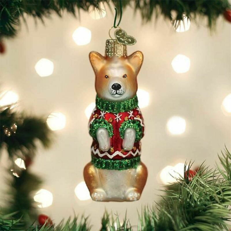 Old World Christmas WELSH CORGI w/Sweater Blown Glass Dog Ornament