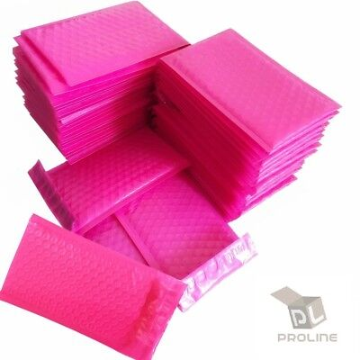 50 Pink Poly Bubble Padded Envelopes Self-sealing Mailers 8.5x12 Inner 8.5x11