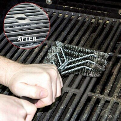 Stainless Steel BBQ Grill Cleaning Brush Scraper Safe Wire Bristle Cleaner Tool Clean Stainless Steel Bbq Grill