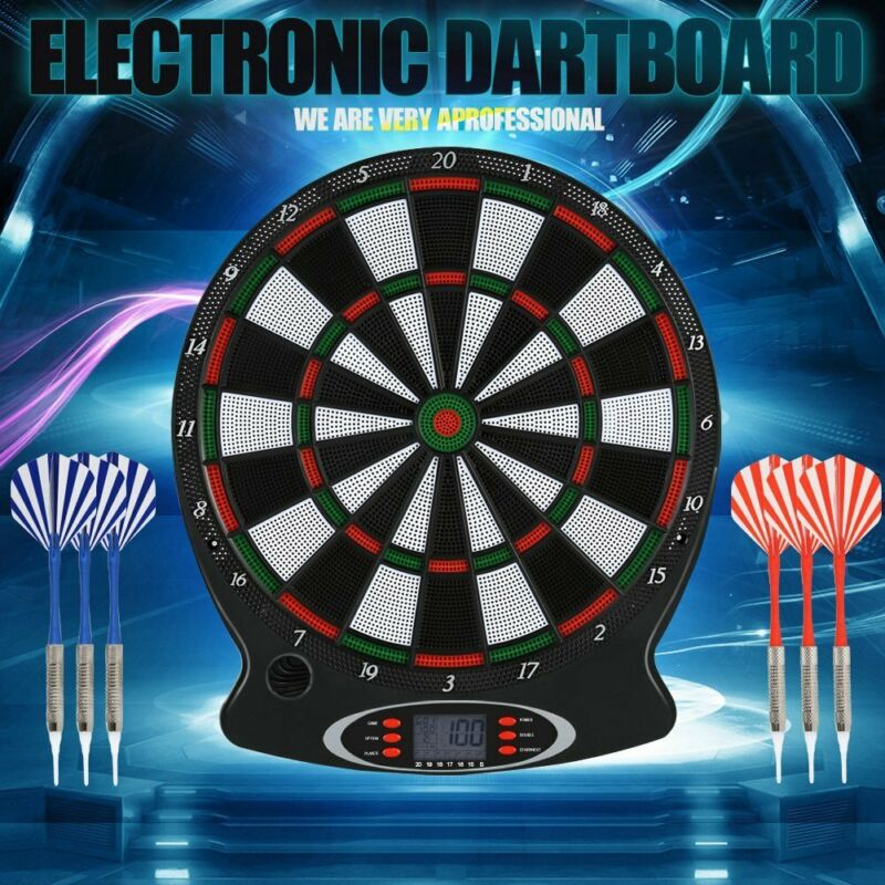 Electronic Dartboard LCD Display 38cm Target Face 6 Soft Tip Darts Target Board