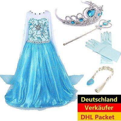 Eiskönigin Elsa Prinzessin Kostüm Mädchen Kleid Kinder Verkleidung Karneval DHL