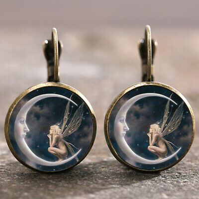 1 pair Fairy on the Moon Bronze Trendy Glass cabochon 18 MM Lever Back Earrings - The Moon Fairy