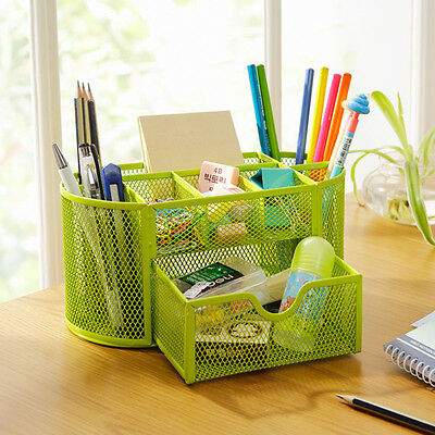 Desk Desktop Organizer Pencil Pen Holder Storage Tray Box Drawer Office Supplies
