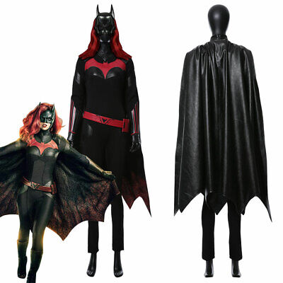 Batwoman Katherine Rebecca Kate Kane Cosplay Costume Jumpsuit Cloak Cape Outfit