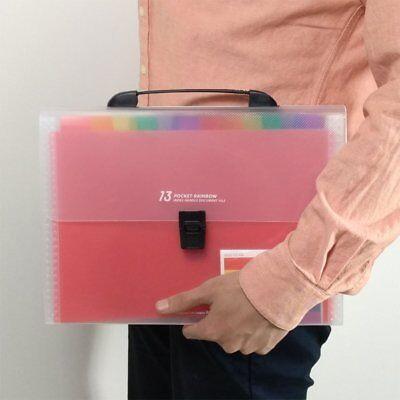 13 Pockets Plastic Expanding Accordion Folders Document Holder A4 File Organizer
