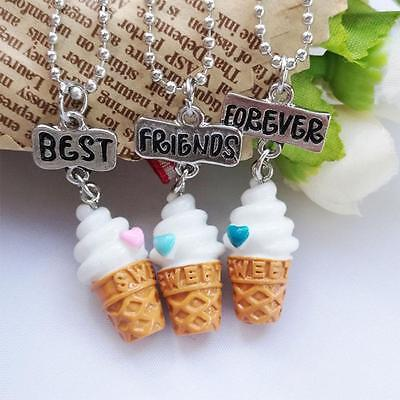 3pcs Best Friends Forever Vanilla Ice Cream Cone Necklace Set Cute