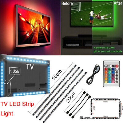 LED Strip Light USB Powered RGB Multi Color TV Backlight Lighting Remote Control - Multi Colored Leds
