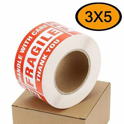 Fragile Stickers 3x5 Handle With Care Move Warning Shipping Labels 500 Per Roll