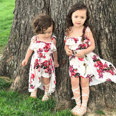 Floral Toddler Kids Baby Girl Clothes Romper Bodysuit Jumpsuit Outfits Dresses - Girls Clothes