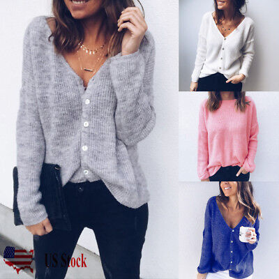 Button Down Long Sleeve Sweater - USA Women Low Cut V-Neck Long Sleeve Knit Snap Button Down Cardigan Sweater Tops