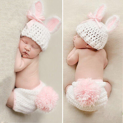Newborn Baby Girl Boy Knitted Knit Costume Photo Photography Prop Hats Outfit