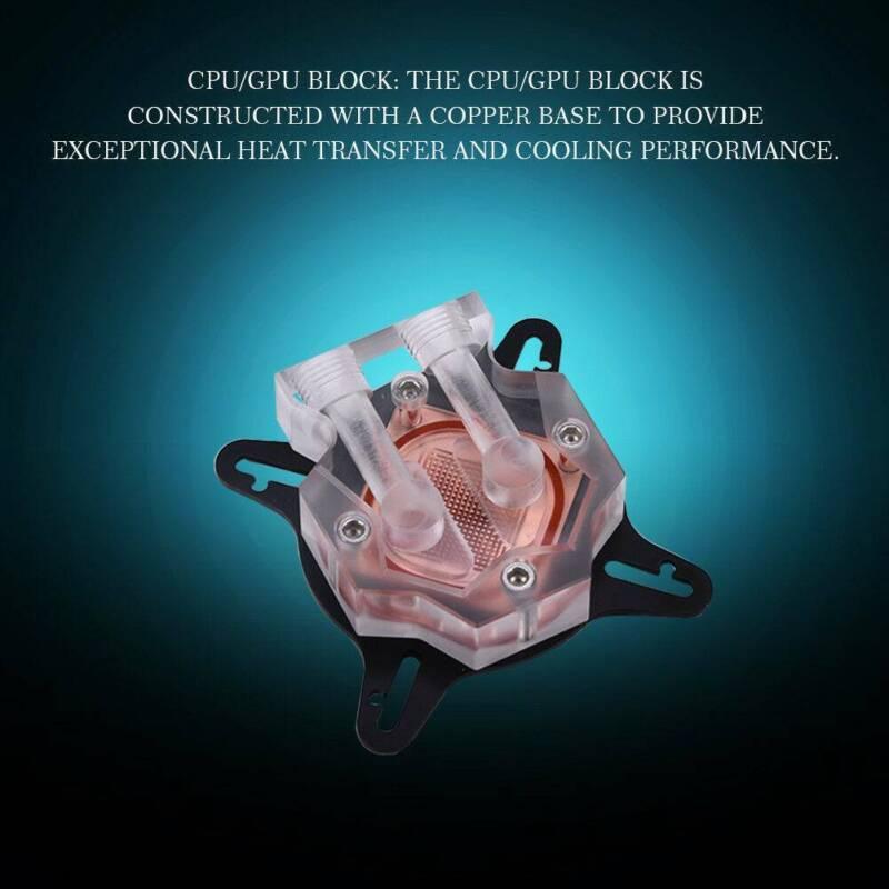 PC Water Kit 240mm Radiator CPU Block Pump US