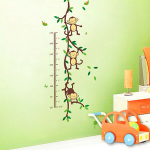 Monkey Forest Home Vinyl Removable Wall Decal Stickers Kids Height Chart Measure
