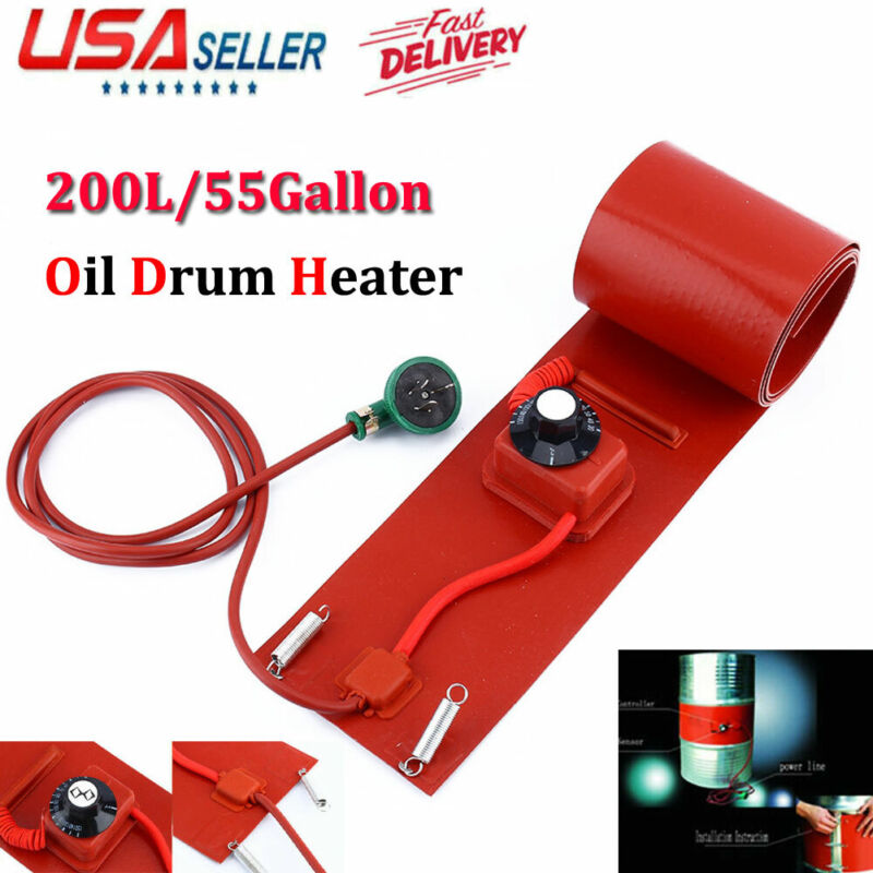 55 Gallon 1000W Silicone Band Drum Heater Oil Biodiesel Metal Barrel 200L