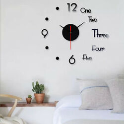 DIY Large Wall Clock Big Watch Decal 3D Stickers Roman Numerals Modern Home USA