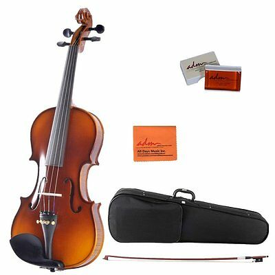 ADM 4/4 Full Size Ebony Fitted Solid Wood Starter Violin Outfit for Beginners