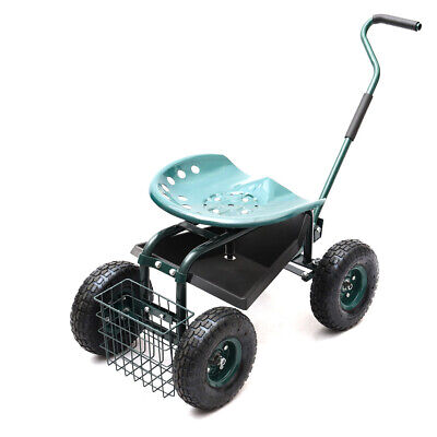 Garden Rolling Cart with Steering Handle|Swivel Seat|Tools Basket & Tray|Wheels
