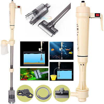 US Battery Aquarium Syphon Operated Fish Tank Vacuum Gravel Water Filter Cleaner