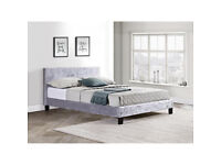 New Berlia Berlin 4ft Small Double Bed Frame in Steel Crushed Velvet