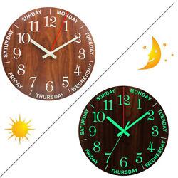 12'' Luminous Wall Clock Glow In The Dark Wood Silent Quartz Indoor Home Office