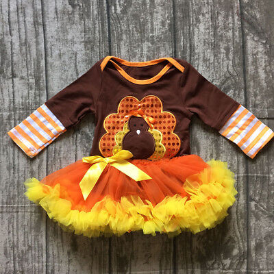 Toddler Baby Girls Thanksgiving Costume Tutu Romper Clothes Turkey Fancy Dress