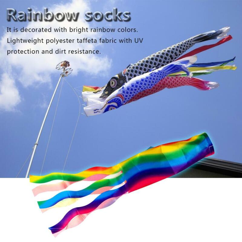 Windsock Polyester Outdoor Garden Wind Sock Decoration 70cm Rainbow Camping