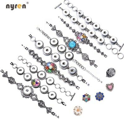 Metal Snap Charms Bracelet Multi Styles Fit 12/18mm Snap Button Snap Jewelry](Jewelry Snaps)