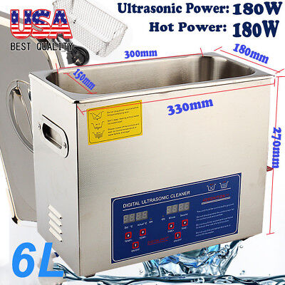 New 6l Ultrasonic Cleaner Stainless Steel Industry Heater Wtimer For Jewelry Us